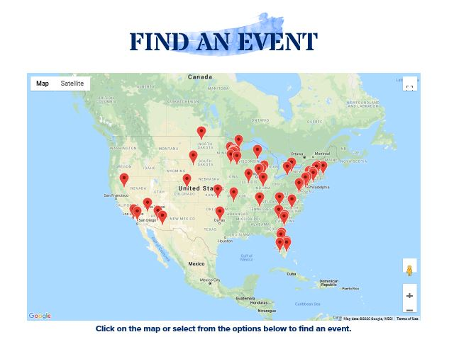 "Screenshot of ""Find an Event"" map on the new Tee It Up for the Troops website. Shows military fundraising events nationwide."