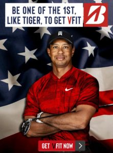 "Tiger Woods, arms crossed and an American flag background. Text reading ""Be one of the first, like Tiger, to get VFIT"""